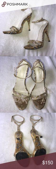 Designer Angela Parsi Heels Swarovski Crystals Wedding heels with Swarovski crystals and Italian designer. Angela Parsi made in Italy. Lightly worn. Angela Parsi Shoes Heels