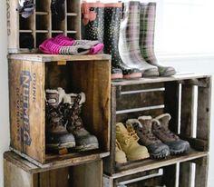 rangement chaussures a fabriquer avec caisse bois brut