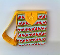 Handbag for Girls, Birds Tote, Small Cotton Fabric Purse, Cute Carryall Bag, fashionable crossbody