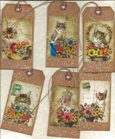12 Primitive Tags Hang Tags Folk Grungy Cats | eBay