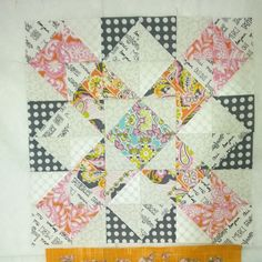 Stacked Windmill block (half square triangles - good low volume mix);  Sew Frou Frou Quilter