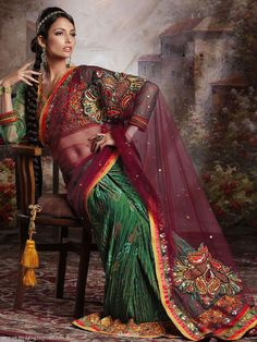 Neelam pari – ethnic bandhani and net saree with lovely intricate eastern embroidery on the pallu and shoulder.