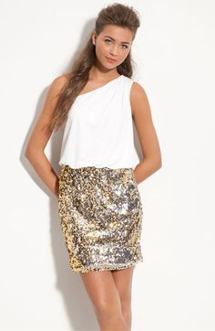 sequin skirt one shoulder dress
