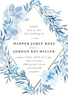 """Poetic Blue"" - Floral & Botanical Wedding Invitations in Sky by Qing Ji…"