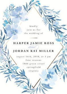 """""""Poetic Blue"""" - Floral & Botanical Wedding Invitations in Sky by Qing Ji. http://rstyle.me/n/bv6qizn2bn"""