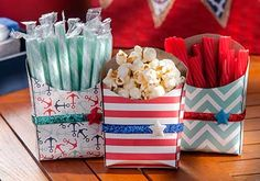 Altered French Fry Boxes! Mod Podge + Scrapbook paper and Mod Melt Stars. Perfect for the 4th of July or Memorial Day.
