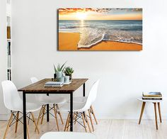 Brilliant Ocean Beach Sunrise Seascape Canvas Print Modern Home Decor Wall Art - Liva Cluney Modern Canvas Art, Large Canvas Wall Art, Canvas Wall Decor, Diy Canvas Art, Home Decor Wall Art, Beach Sunrise, Ocean Beach, Hanging Wall Art, Hanging Canvas