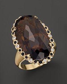 14K Yellow Gold Smokey Quartz, Black Sapphire and White Diamond Ring _0