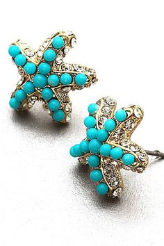 Turquoise Pop Starfish Earrings $24 Free Shipping