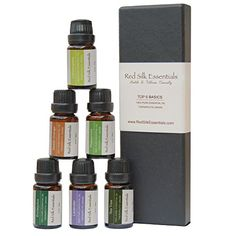 Aromatherapy Top 6 100% Therapeutic Grade Essential Oils Gift Set, 10 ml each (Lavender, Tea Tree, Eucalyptus, Lemongrass, Orange, Peppermint) -- Additional info @