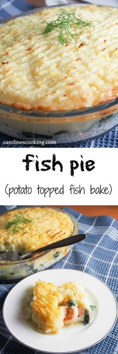 Fish pie is a potato topped fish bake that's a British comfort food classic. food recipe recipes foodie cook cooking yummie salads pasta Tasty Dishes at home fish seafood dishes meat soup cake dessert sweet pudding Fish Recipes, Seafood Recipes, Dinner Recipes, Cooking Recipes, Healthy Recipes, Drink Recipes, Seafood Casserole Recipes, Recipies, Salmon Recipes