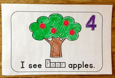 Students make sets of numbers 1-10 and practice number words in this cute booklet.  This Apple themed Math unit also includes center activities and worksheets.