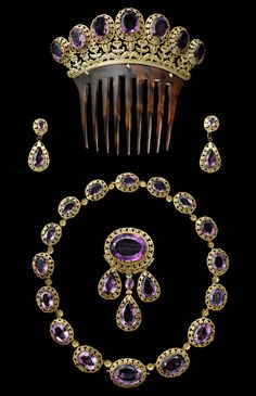 "royalwatcher:  The Parure collection, made of amethysts and gold, from 1850 by Cartier. The collection is among the many dazzling jewels on display in ""Cartier: Style and History"" at the Grand Palais in Paris from December 4 through February 16, 2014"