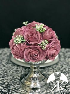 DUSTY MAUVE Rose Arrangement with Dusty Foliage & Berries. Flower Ball Centerpiece, Red Centerpieces, Mickey Centerpiece, Crown Centerpiece, Bling Wedding, Rose Wedding, Mauve Wedding, Wedding Cake, Burnt Orange Weddings