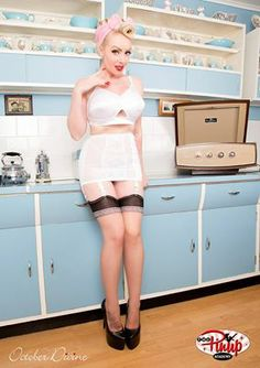 October DiVine | Pin Up Model Photo The Pinup Academy (LOVE the cabinets!!!!)