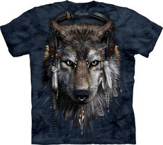 Shirt Wolf Native American Red Indian Biker Glow In Dark Tattoo Goth Tye Dye T