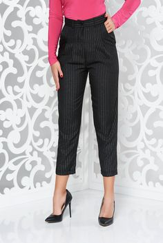 StarShinerS black office high waisted trousers with lame thread with pockets conical non-flexible thin fabric Black Office, October 19, Black Trousers, Flexibility, Capri Pants, Vibrant, Zipper, Pockets