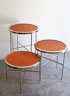 CASA MIDY - MONEDA - nickel plated leather tables