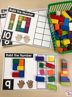 Built It Number Mats with LEGOS are a FUN, hands on way to explore and learn all about numbers and counting, how to write numbers (number formation), letter sounds, and strengthen those fine motor muscles too. Numbers Preschool, Math Numbers, Preschool Math, Preschool Centers, Kindergarten Writing, Kindergarten Classroom, Math Stations, Math Centers, Lego Math