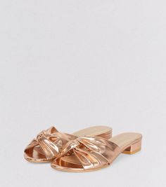 c31d7c31e575b Wide Fit Rose Gold Knot Front Sandals | New Look Shoe Gallery, Knots, Tying