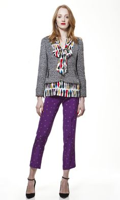 The Harper Jacket and Clarice Blouse paired with our silk Dot Pant by LEONA