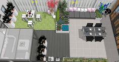 achtertuin rijtjeshuis - opstelling eet tafel naast lange lounge zitje