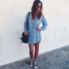 e0e2ec7f0c6 Black  Converse  Chucks  Chuck Taylor high-tops   tennis shoes . Chambray  Shirt OutfitsDenim Shirt DressChambray ...