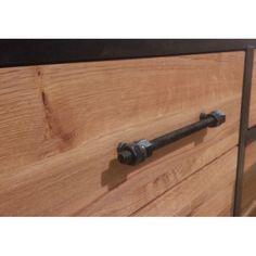 Commode chêne et métal 3 tiroirs 110cm FERSCOTT