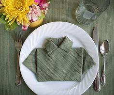 napkin made to look like a ladies shirt.