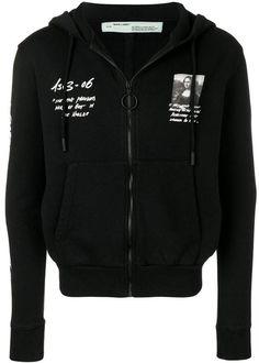 Off-White Monalisa zipped hoodie - Black Streetwear Brands, Streetwear Fashion, Black Zip Hoodie, Off White Mens, White Tops, Black White, Black Cotton, Hooded Jacket, Women Wear