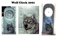 wolf on wood clock done in acrylic paint.