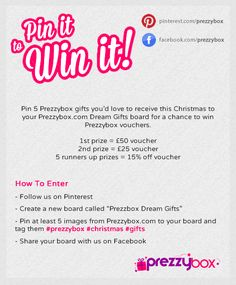Create a Prezzybox Dream Gifts board and pin Prezzybox gifts you'd like to receive this Christmas for a chance to #win some Prezzybox vouchers!