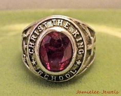 1967 Christ the King School Sterling Class Ring Red Stone-Sz 6.5