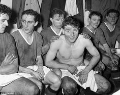 Duncan Edwards and Co after beating Red Star Belgrade in the first leg of their European Cup tie in 1958.