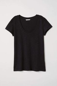 H&M Modal-blend T-shirt - Black - Women Plain Black T Shirt, H&m Online, T Shirt And Jeans, What I Wore, Fashion Online, Black Women, Kids Fashion, Cotton, How To Wear