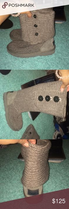 Cute gray ugg boots! Cute bottom gray ugg boots. Like new, only worn a hand full of times. Shoes Winter & Rain Boots