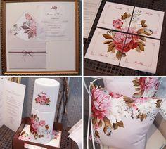 Kit de convite e lembrancinhas personalizadas (porta copos, moringa e almofada), feito por Suzana Fujita.