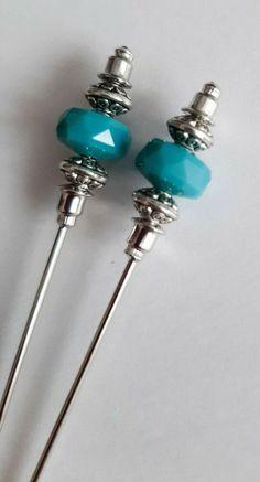 2PCS Cadet Jade/Antique Silver Tone Hat Pins - 8.5cm Long