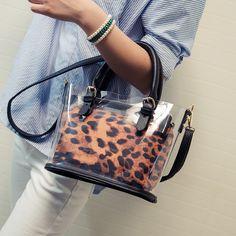 2016 Hot Summer Top-Handle Bags Leopard Clear Transparent Bags Shoulder Bag Ladies Messenger Bag Fashion Tote Handbags - Bag For Women And Babies Kate Spade Handbags, Tote Handbags, Clear Handbags, Leopard Bag, Jelly Bag, Transparent Bag, Clear Bags, Cute Bags, Fashion Bags