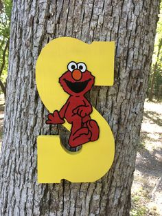 Sesame Street Theme Letter - Party Centerpiece - Photo Prop - Sesame Street - Elmo Letter by ChicDesignsByTiffany on Etsy https://www.etsy.com/listing/513600306/sesame-street-theme-letter-party