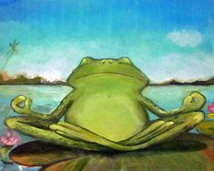 Zen Frog II giclee print on canvas Yoga Art by DarlingRomeo Mermaid Images, Cute Frogs, Yoga Art, Kids Shows, Giclee Print, Zen, The Incredibles, Canvas Prints, Creative