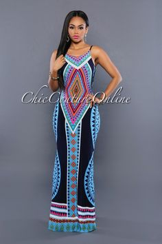 Chic Couture Online - Fancy Blue Multi-Color Aztec Print Maxi Dress, (http://www.chiccoutureonline.com/fancy-blue-multi-color-aztec-print-maxi-dress/)