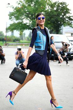 giackit:  The Italian Street Style star, Giovanna Battaglia, having fun after the Celine show. Photo by Giacomo Cabrini