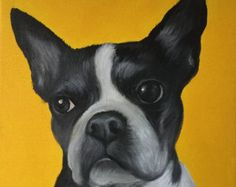 Custom pet portrait on canvas from photo oil and acrylic original 10 x 10 dog cat Boston terrier art painting