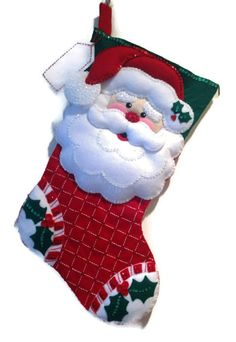 Finished Bucilla Christmas Stocking  Happy by PinsandNeedles0, $74.95
