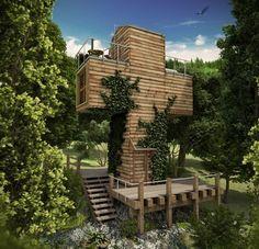Haus aus Holz Terrasse Treppe drei Stockwerke