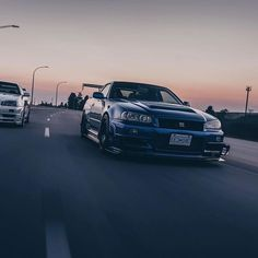 This is by far my favourite photo I have for my two cars by @dylanackimenko. Plan for this spring is to have all three of my R34 do an exact same rolling shot!! _______________________________________ #cwcollective #r34 #skyline #gtr #godzilla #skylinesyndicate #garagesaurus