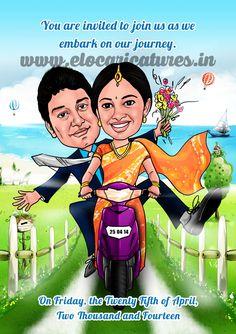 Groom and bride funny cartoon Indian Wedding Couple, Indian Wedding Cards, Indian Wedding Planning, Indian Wedding Decorations, Wedding Couples, Wedding Poses, Wedding Ideas, Quirky Wedding Invitations, Wedding Anniversary Invitations