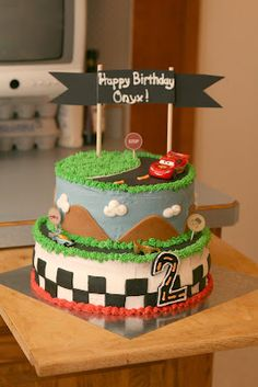 Cars Themed Birthday Cakes I made for a couple of toddlers turning 2 & 3...