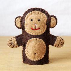 Felt finger puppet monkey animal puppet by HandmadeByJoanneRich, $5.00
